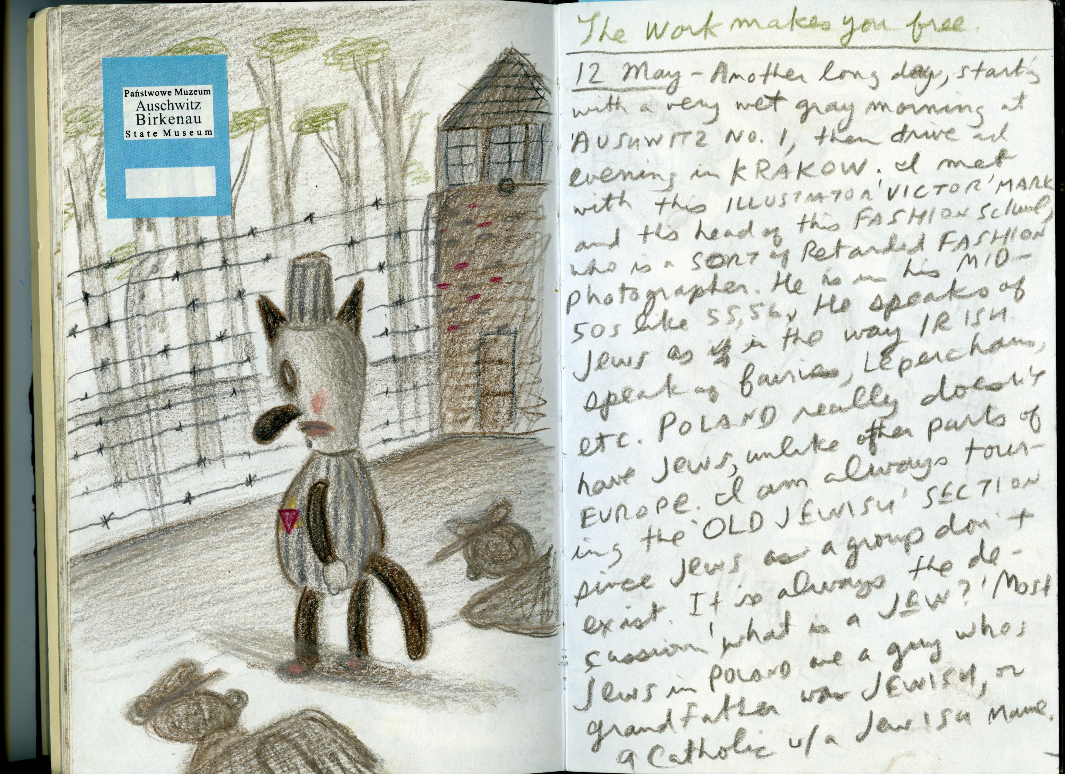 Image: Image of a sketchbook about Auschwitz.