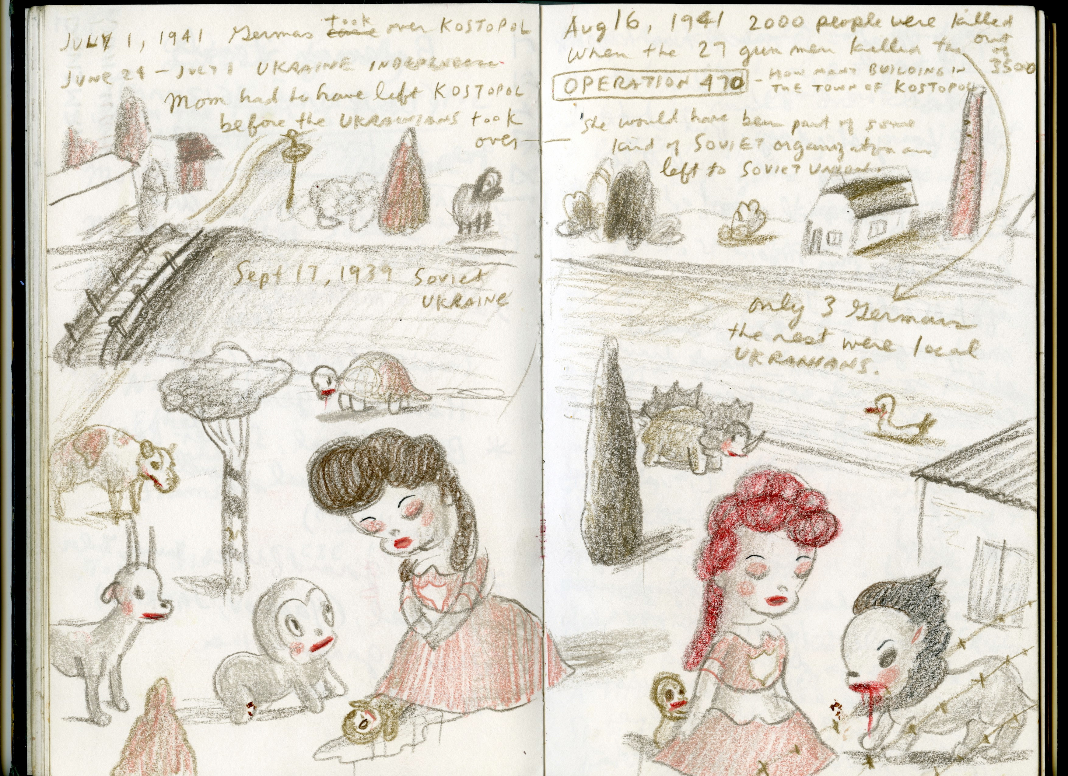 Image: A picture from a sketchbook showcasing bizzare artwork about Soviet Ukraine.
