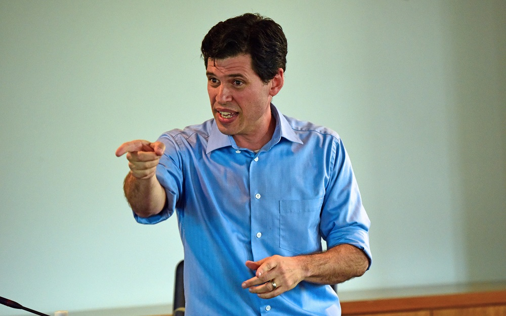 Image: Max Brooks pointing.