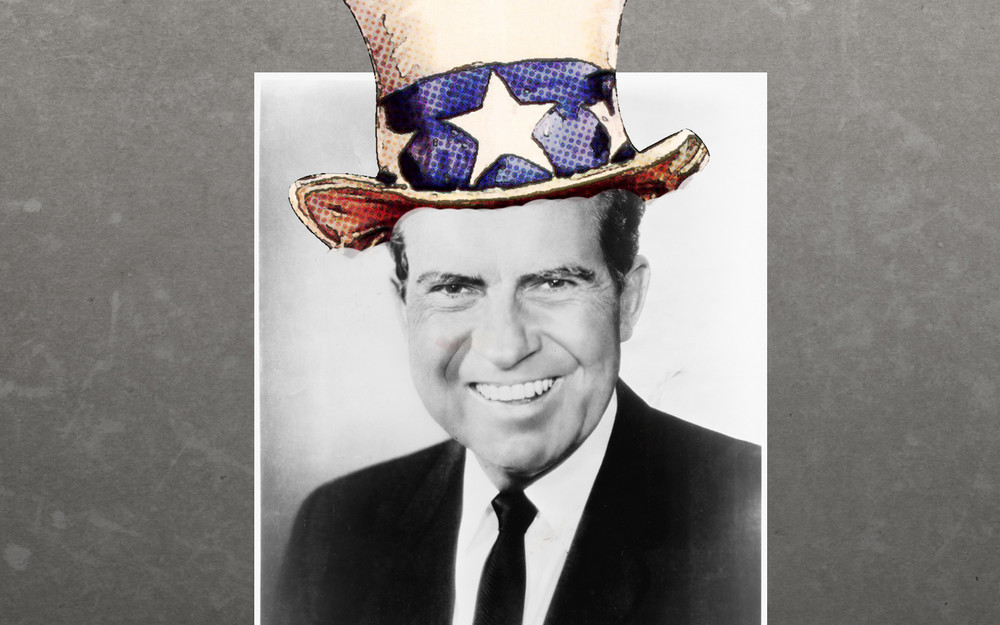 Image: A photograph of Richard Nixon with an Uncle Sam hat digitally added.