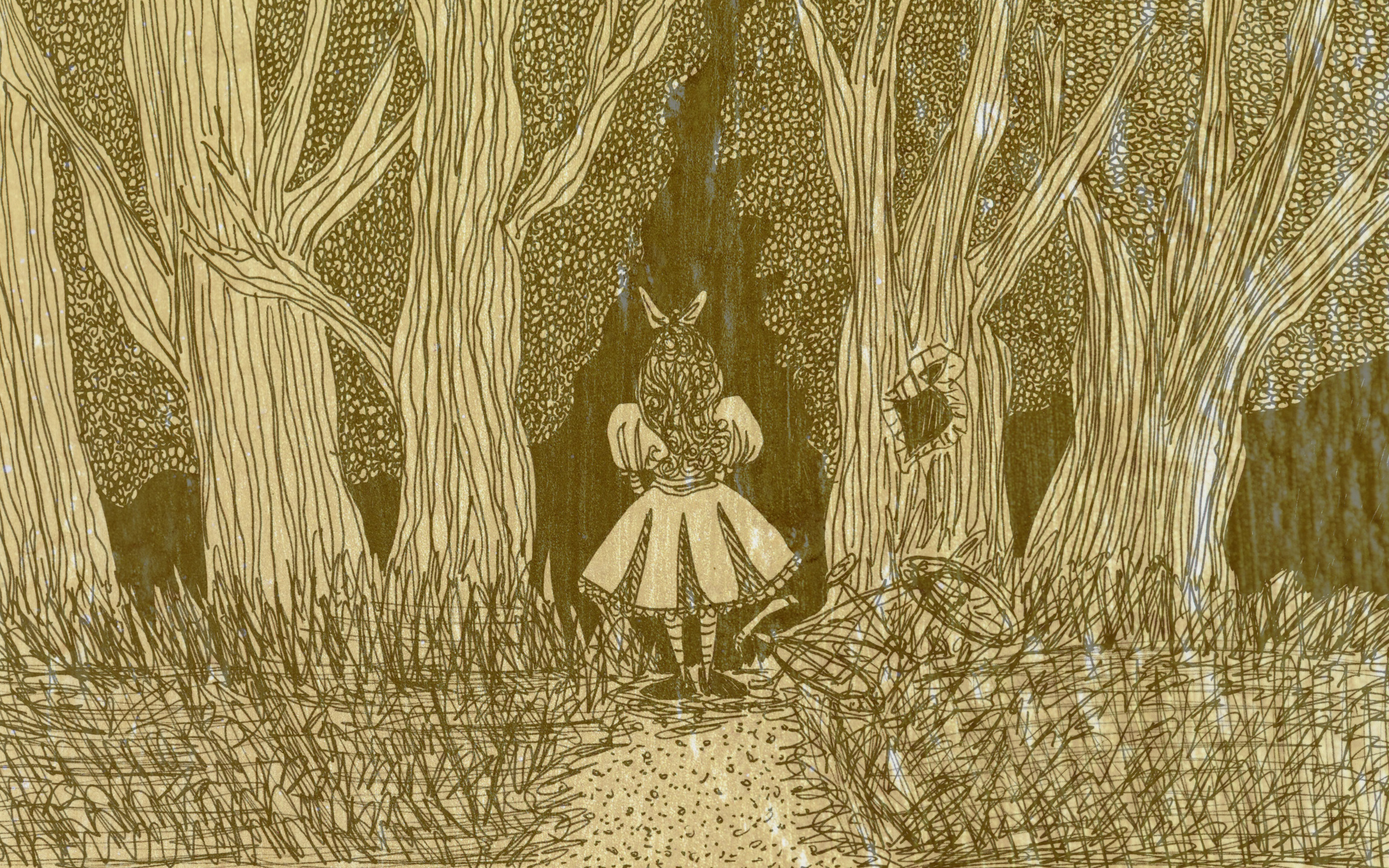 Image: Art of a girl entering a dark forest.