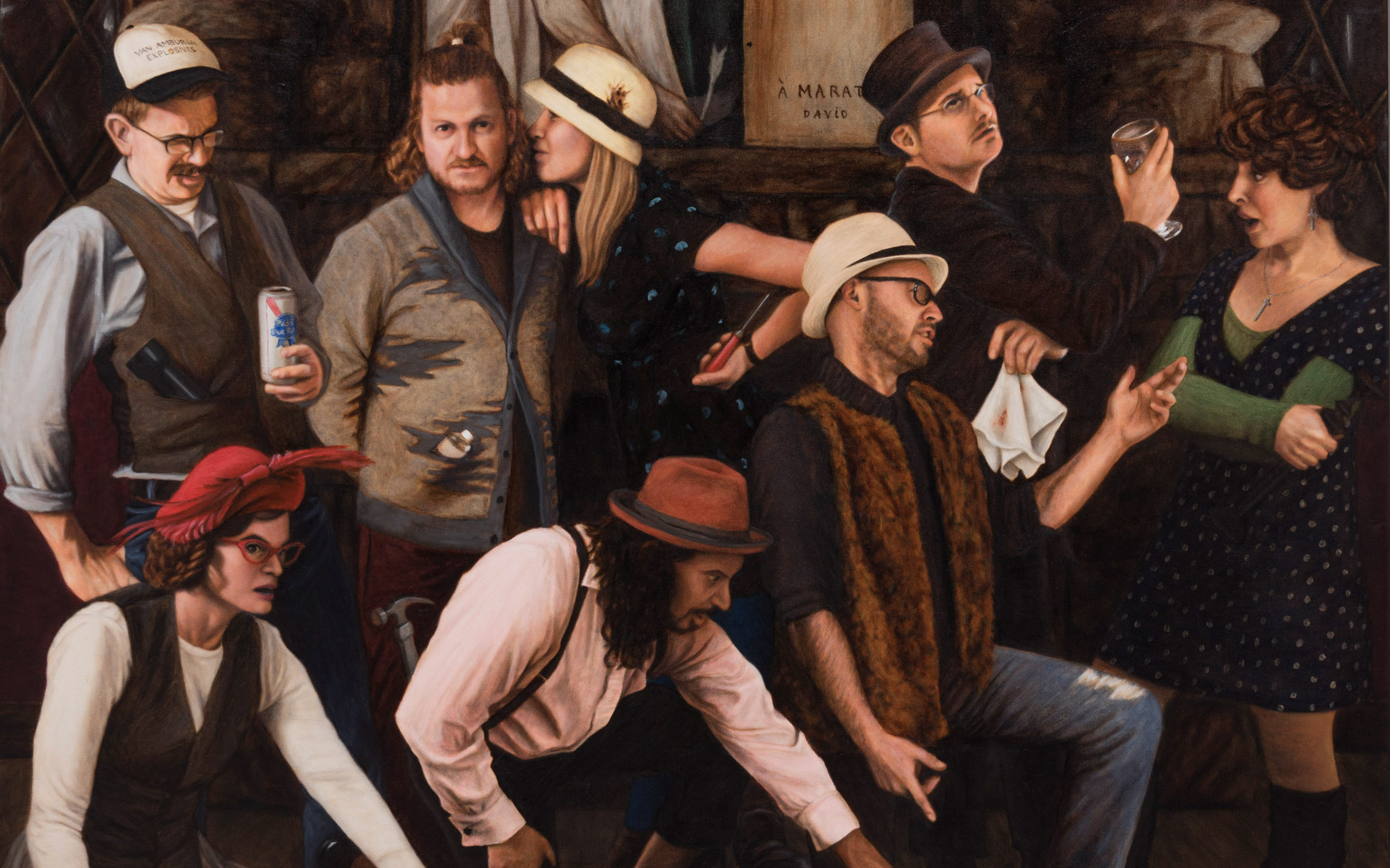 Image: Eight individuals, both males and females, at a bar in various poses and drinking.