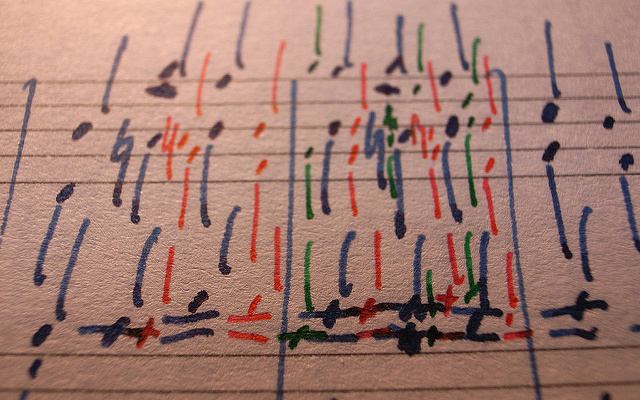 Image: A sheet of music written in colored ink.