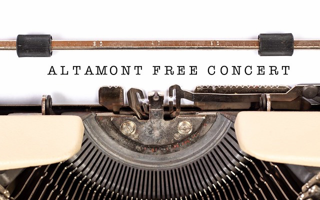 "Image: ""Altamont Free Concert"", text editing onto a typewriter."