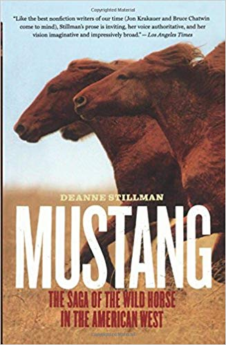 Cover image of the book Mustang with horses galloping across a field.